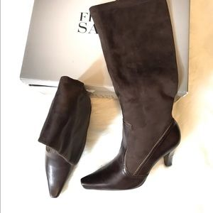 Franco Sarto Brown Faux Suede Knee High Heel Boots